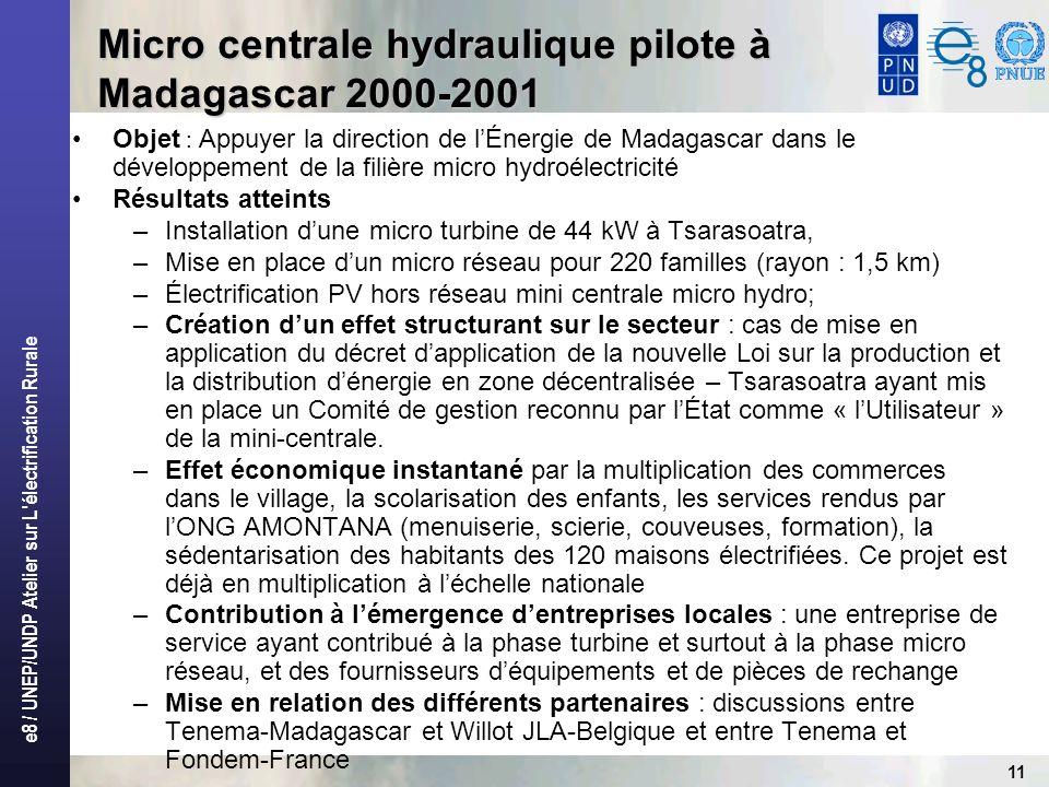 Micro centrale hydraulique pilote à Madagascar 2000-2001
