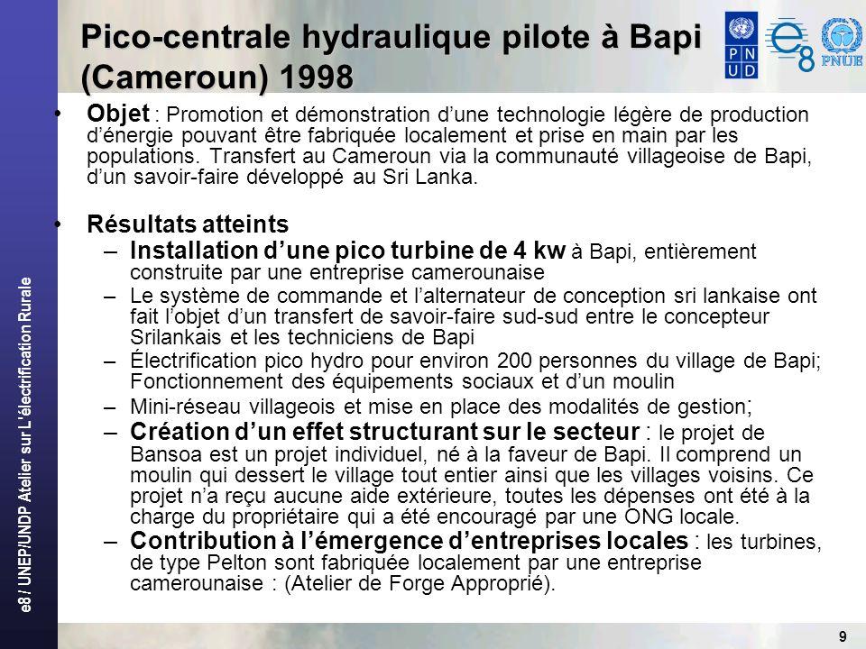 Pico-centrale hydraulique pilote à Bapi (Cameroun) 1998
