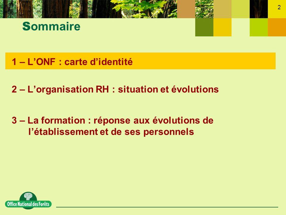 Sommaire 1 – L'ONF : carte d'identité