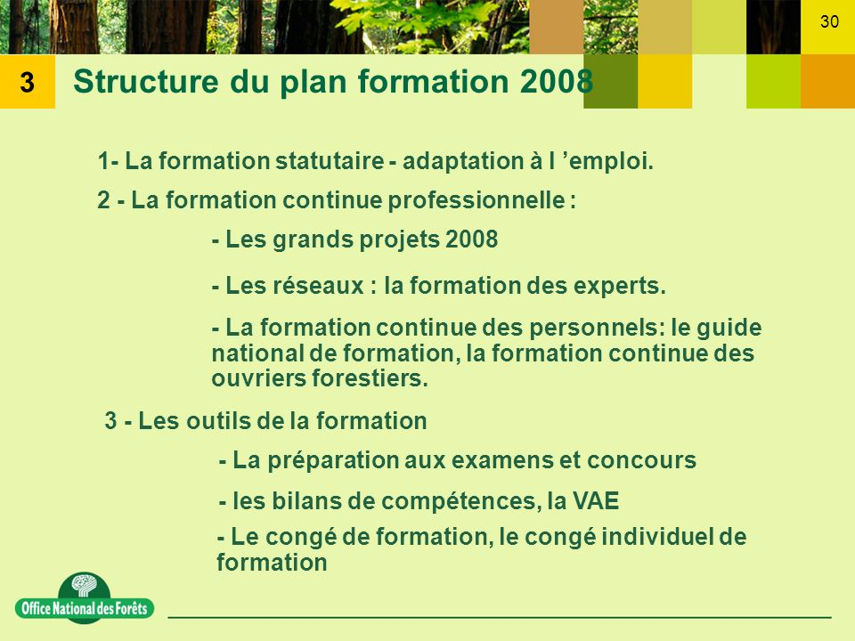 Structure du plan formation 2008