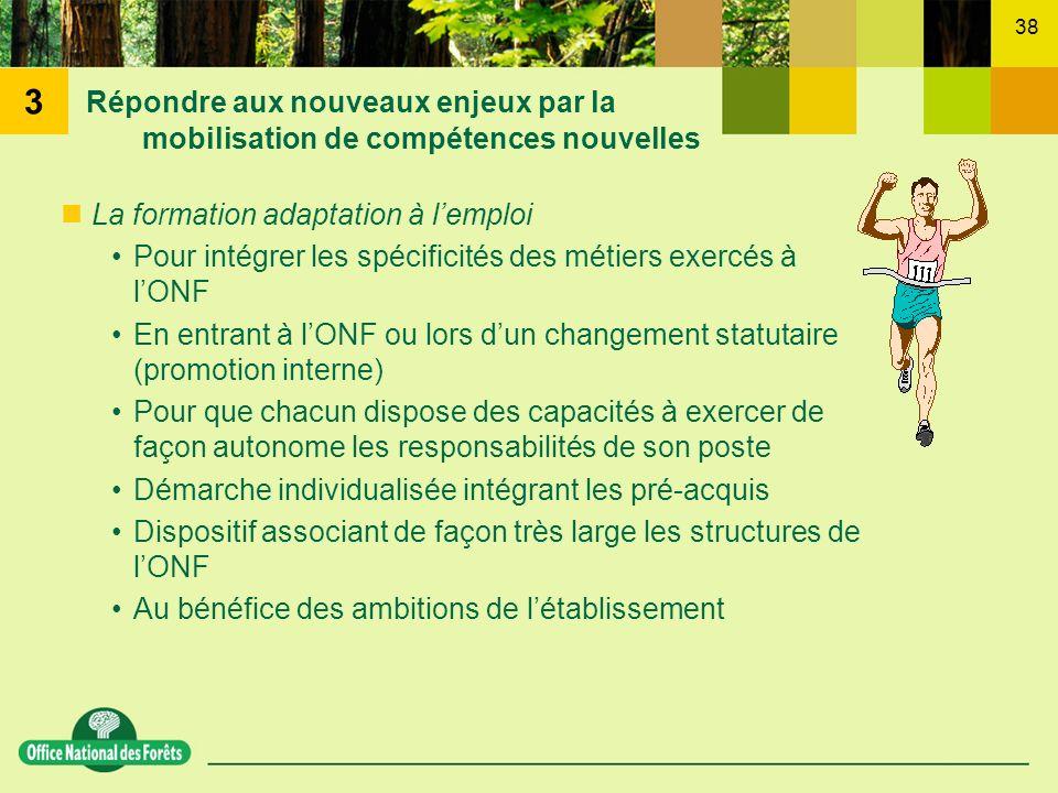 3Répondre aux nouveaux enjeux par la mobilisation de compétences nouvelles. La formation adaptation à l'emploi.