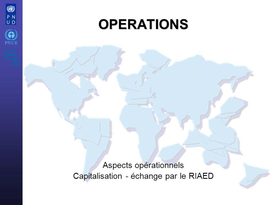 Aspects opérationnels Capitalisation - échange par le RIAED