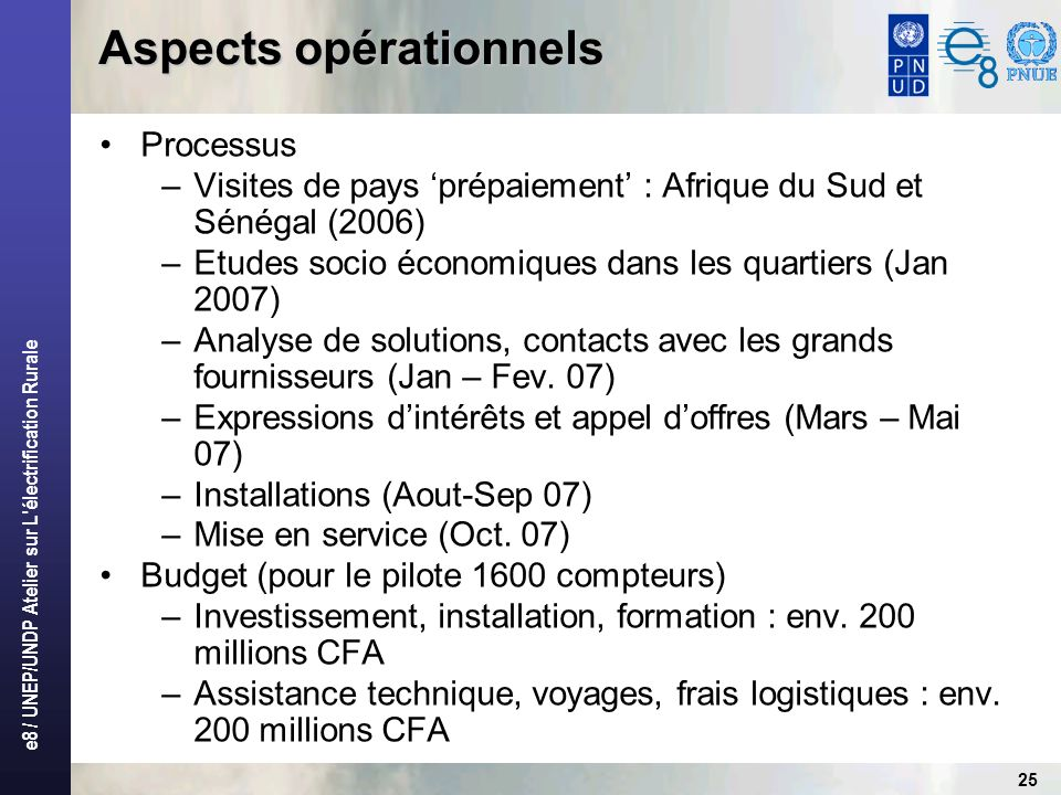 Aspects opérationnels