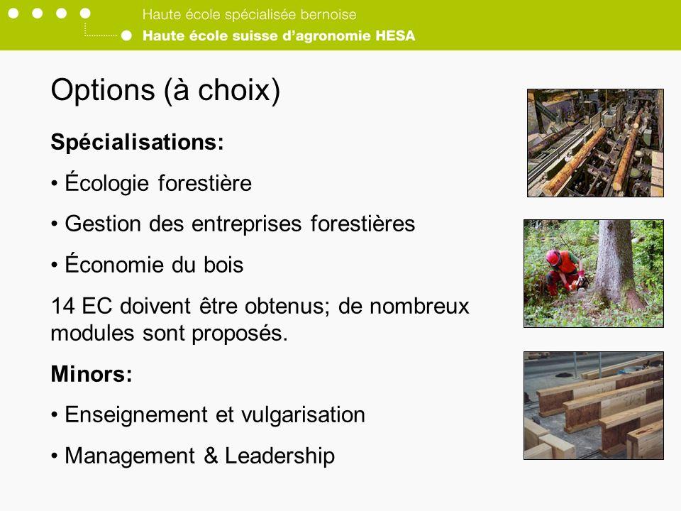Options (à choix) Spécialisations: Écologie forestière
