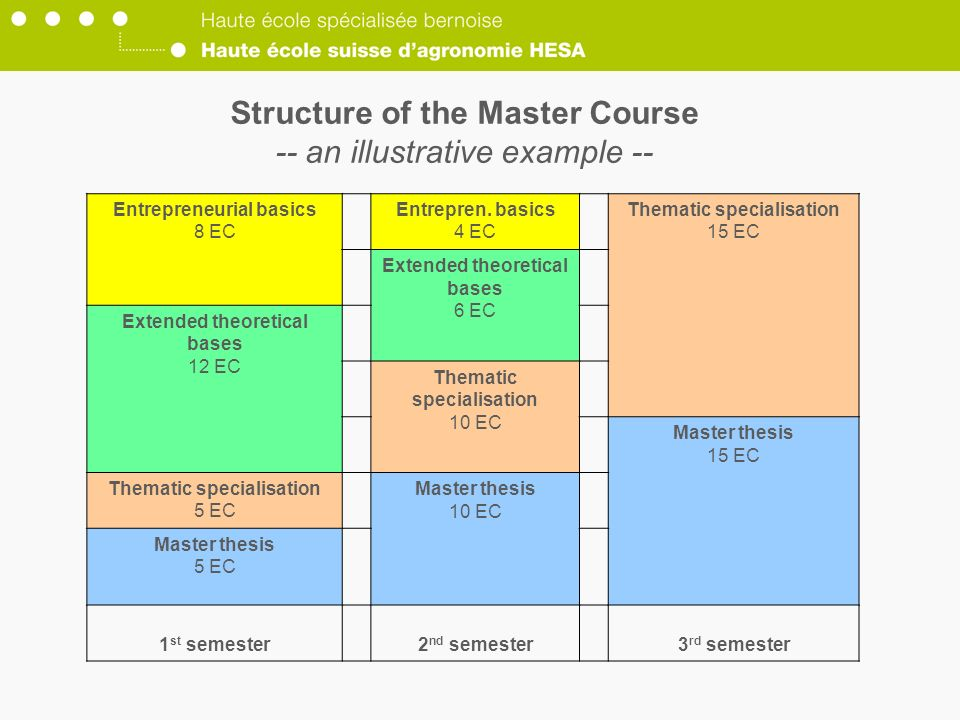 Structure of the Master Course -- an illustrative example --