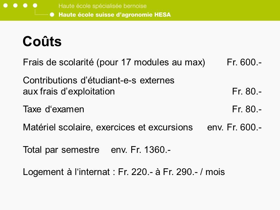 Coûts Frais de scolarité (pour 17 modules au max) Fr. 600.-