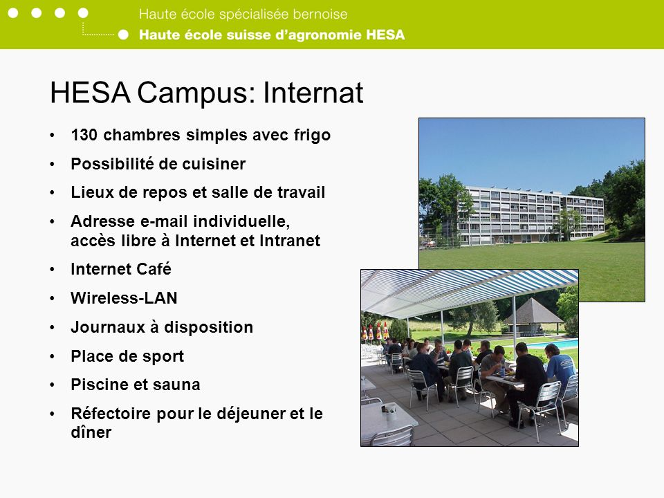 HESA Campus: Internat 130 chambres simples avec frigo