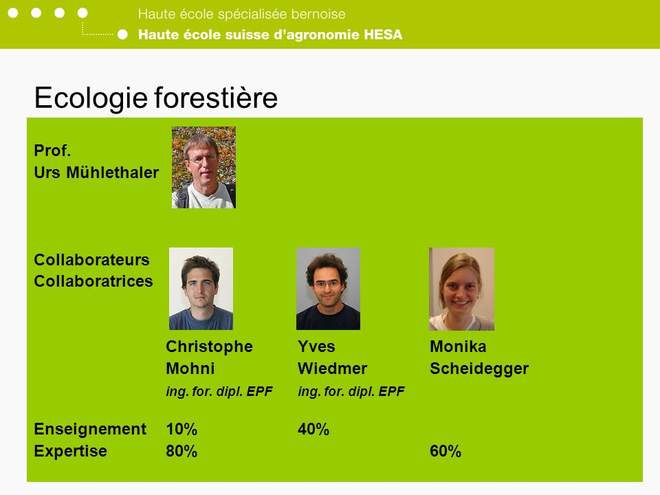 Ecologie forestière Prof. Urs Mühlethaler Collaborateurs