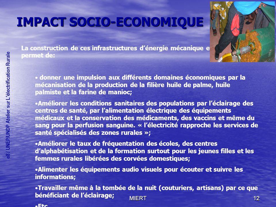 IMPACT SOCIO-ECONOMIQUE