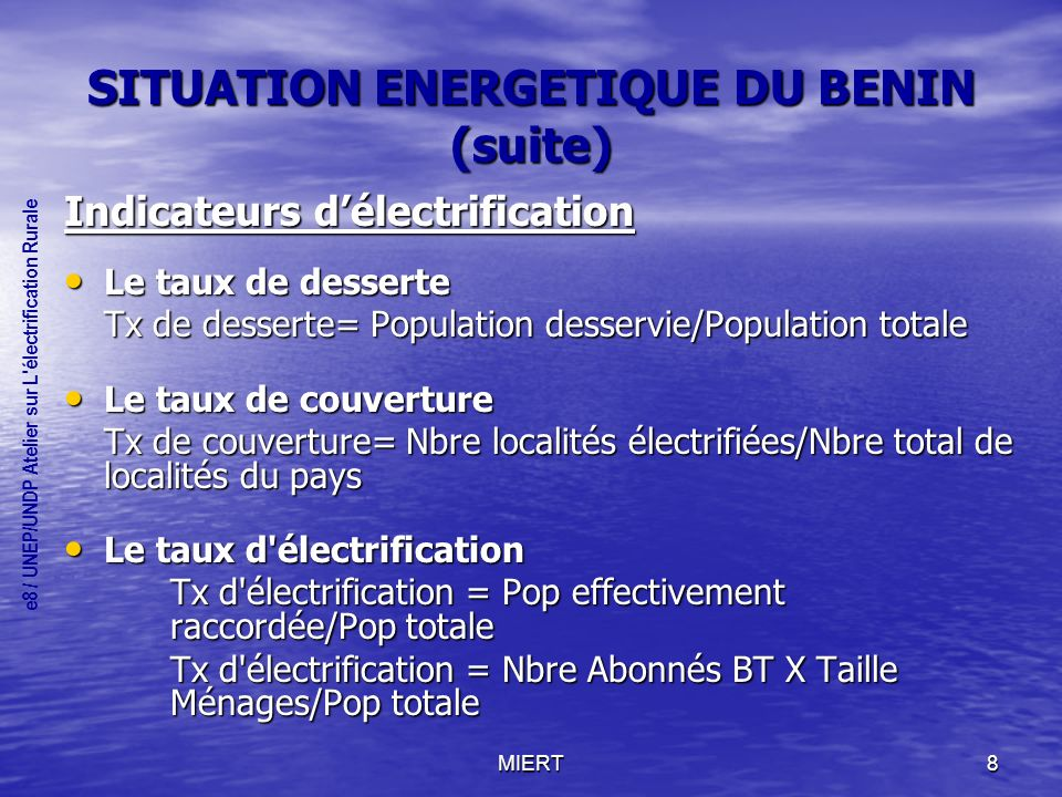 SITUATION ENERGETIQUE DU BENIN (suite)