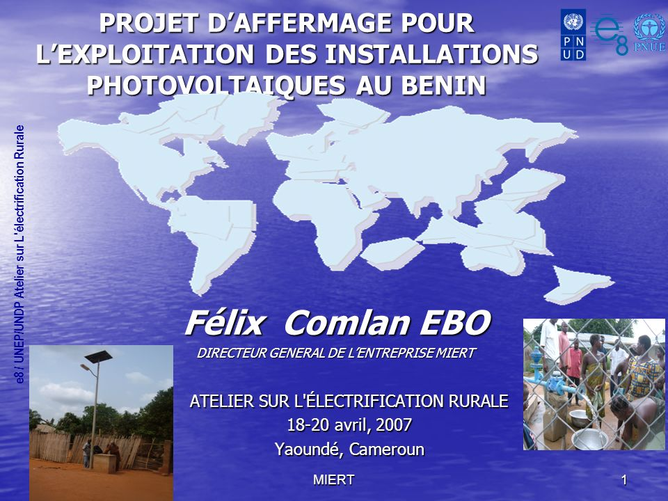 Félix Comlan EBO ATELIER SUR L ÉLECTRIFICATION RURALE