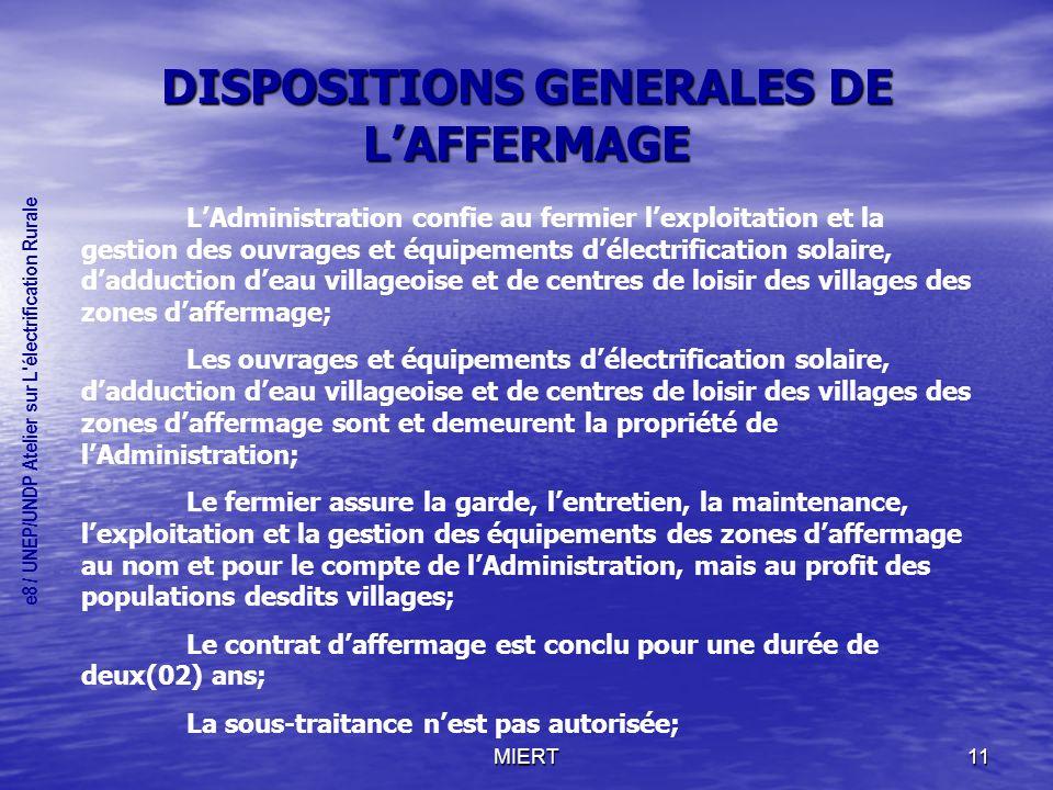 DISPOSITIONS GENERALES DE L'AFFERMAGE