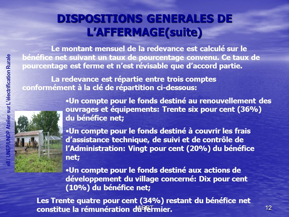 DISPOSITIONS GENERALES DE L'AFFERMAGE(suite)