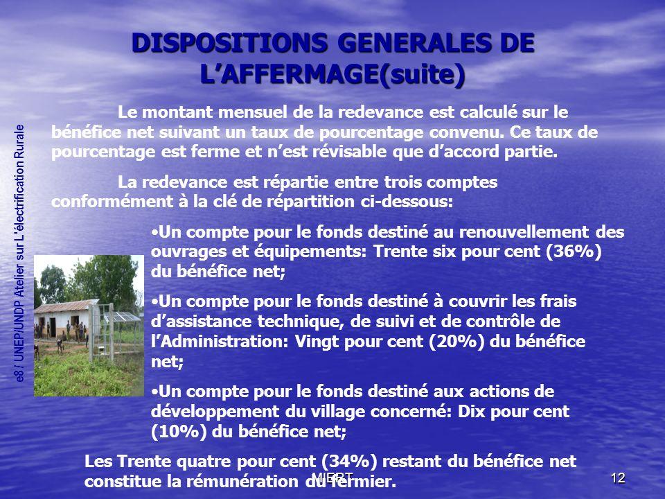 DISPOSITIONS GENERALES DE L'AFFERMAGE(suite)