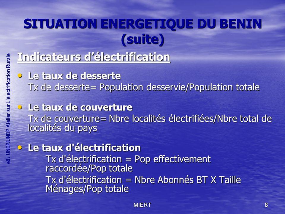 SITUATION ENERGETIQUE DU BENIN (suite)