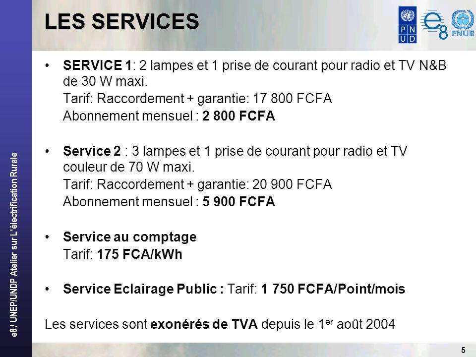 LES SERVICES SERVICE 1: 2 lampes et 1 prise de courant pour radio et TV N&B de 30 W maxi. Tarif: Raccordement + garantie: 17 800 FCFA.