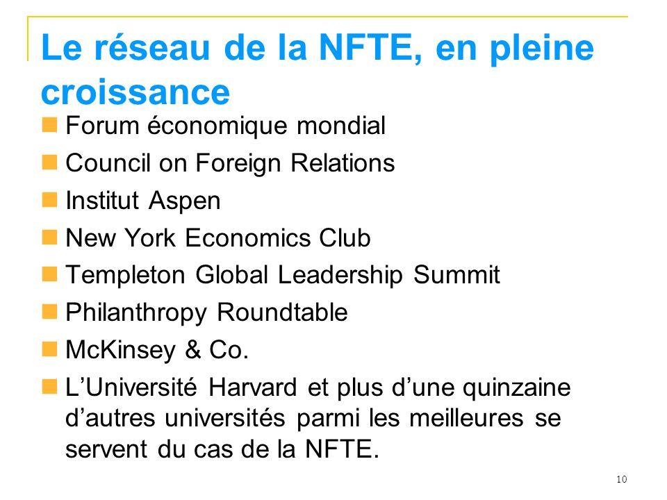 Le réseau de la NFTE, en pleine croissance