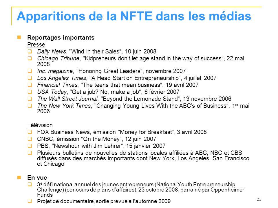 Apparitions de la NFTE dans les médias