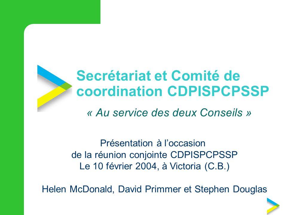 Secrétariat et Comité de coordination CDPISPCPSSP