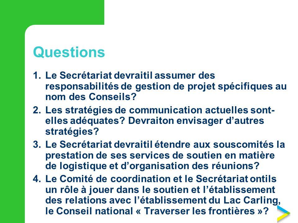Questions 1. Le Secrétariat devraitil assumer des responsabilités de gestion de projet spécifiques au nom des Conseils
