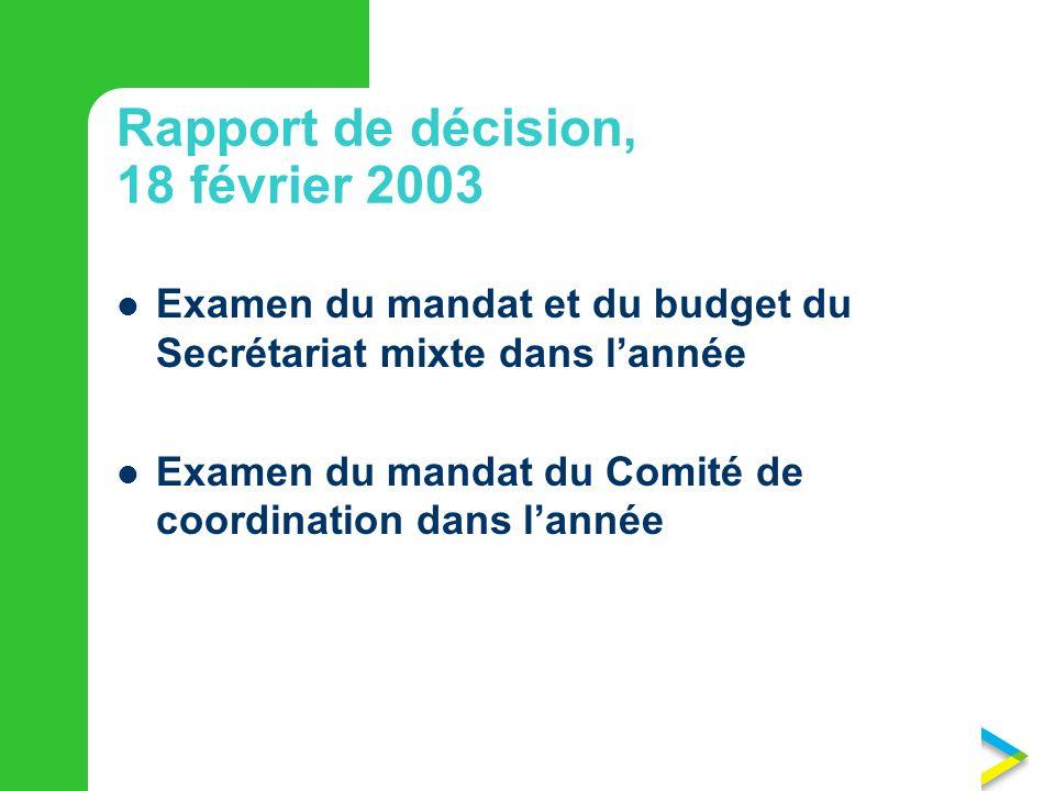 Rapport de décision, 18 février 2003