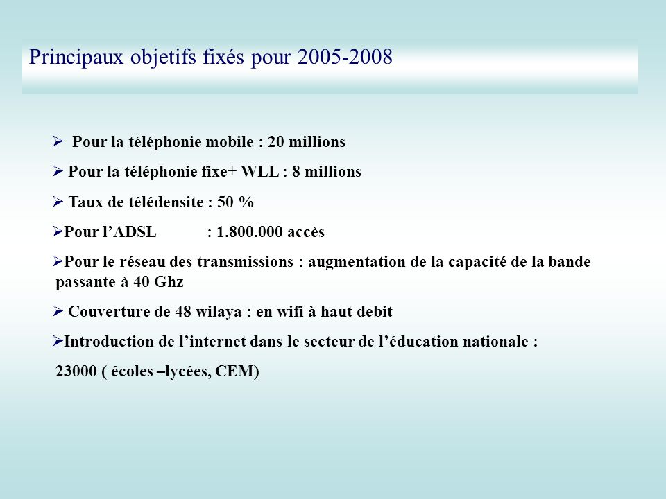 Principaux objetifs fixés pour 2005-2008