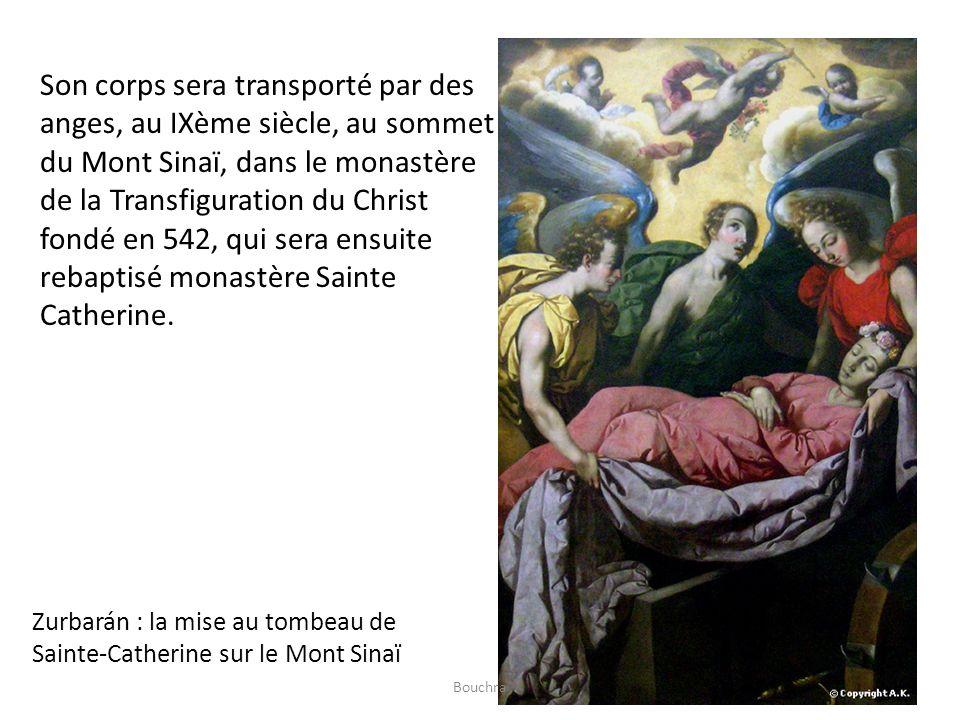 Son corps sera transporté par des anges, au IXème siècle, au sommet du Mont Sinaï, dans le monastère de la Transfiguration du Christ fondé en 542, qui sera ensuite rebaptisé monastère Sainte Catherine.