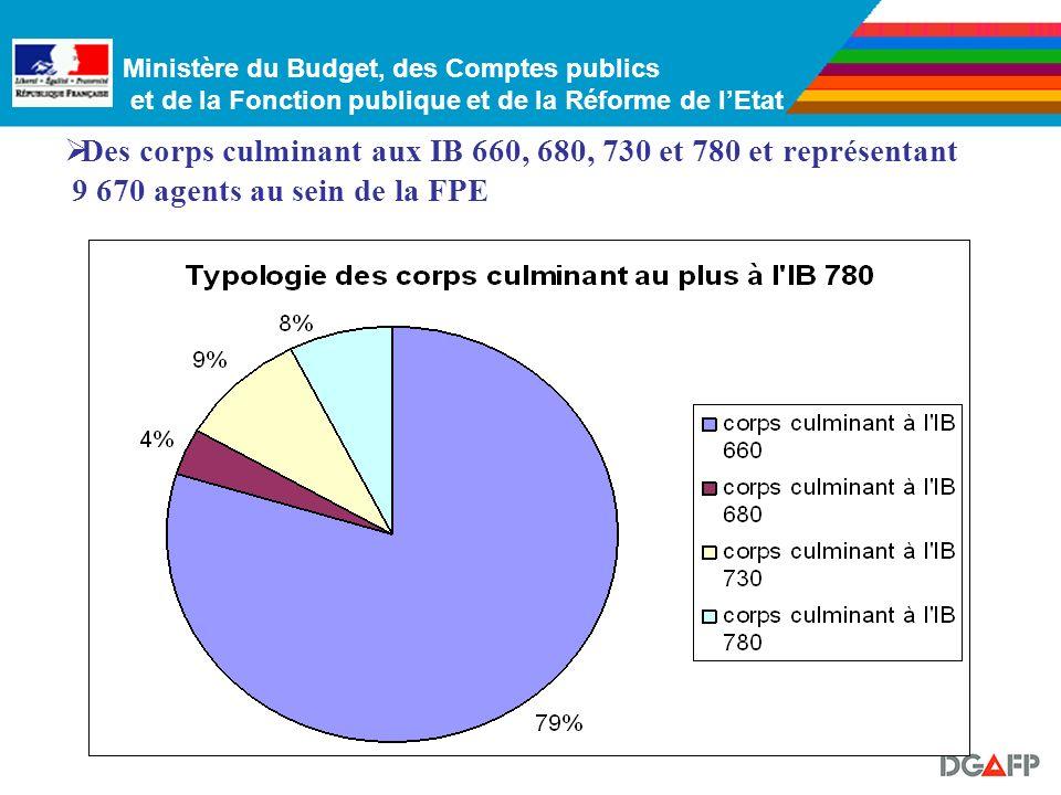 Des corps culminant aux IB 660, 680, 730 et 780 et représentant 9 670 agents au sein de la FPE