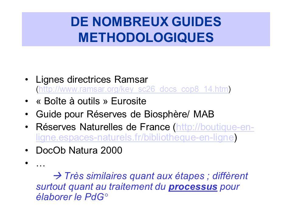 DE NOMBREUX GUIDES METHODOLOGIQUES