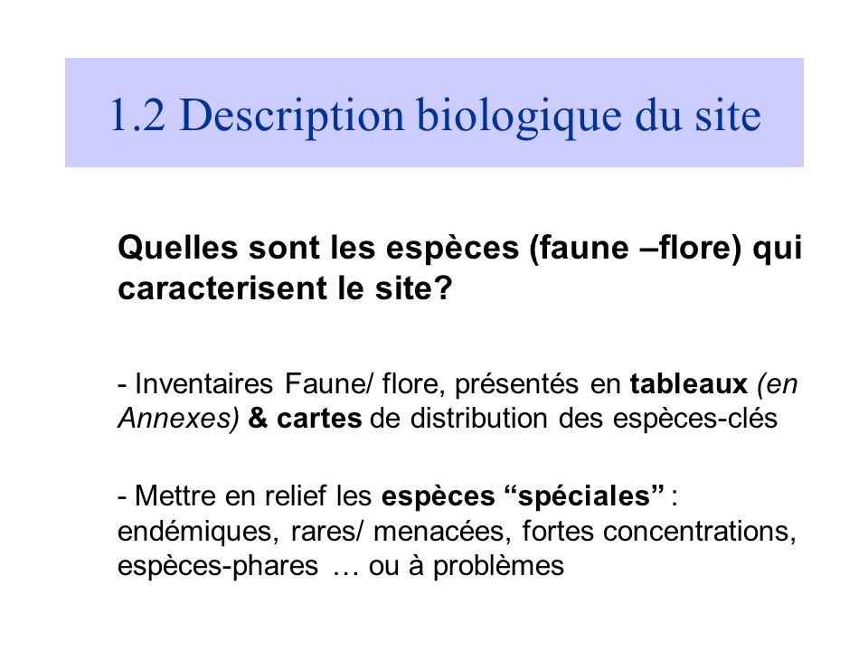 1.2 Description biologique du site