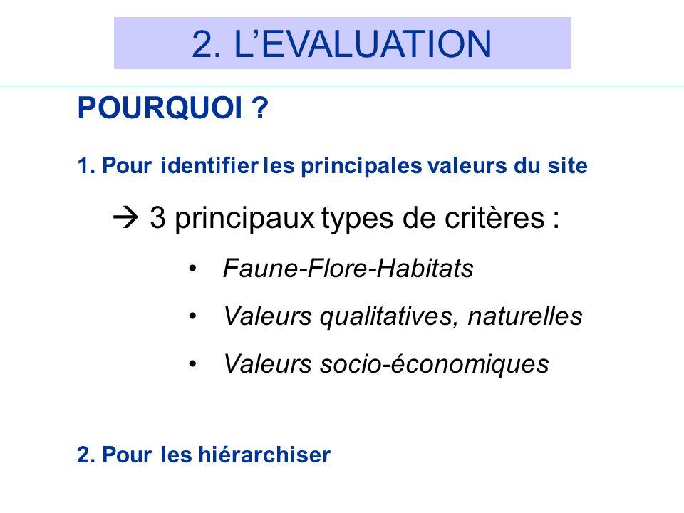2. L'EVALUATION POURQUOI  3 principaux types de critères :