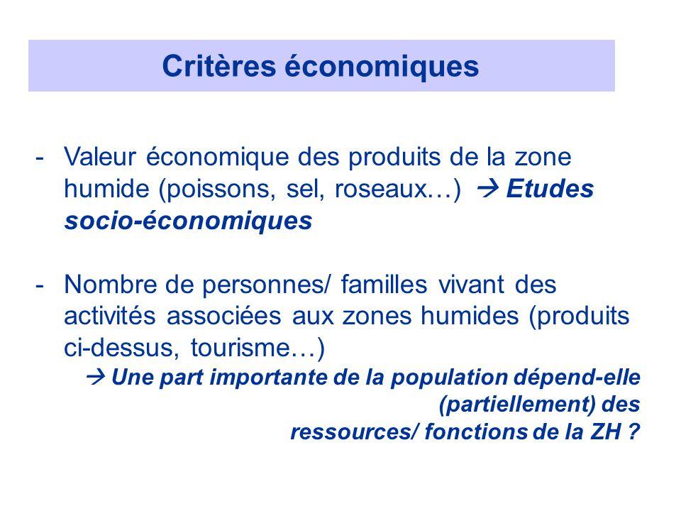 Critères économiques Valeur économique des produits de la zone humide (poissons, sel, roseaux…)  Etudes socio-économiques.