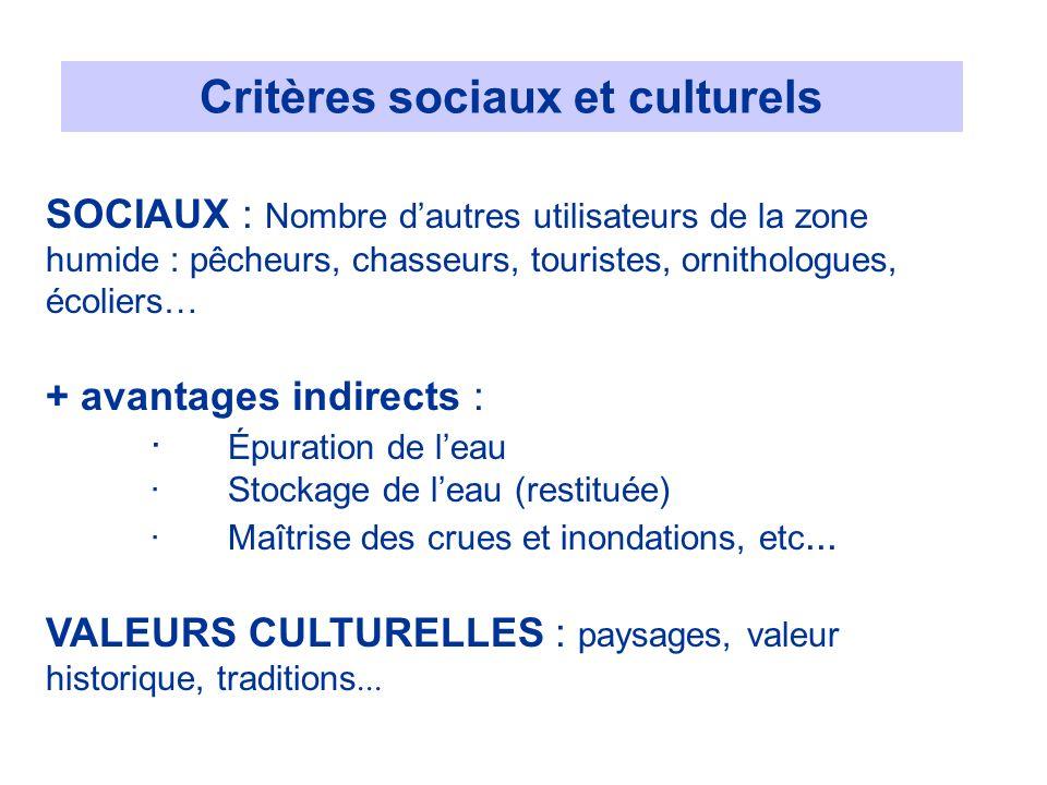 Critères sociaux et culturels
