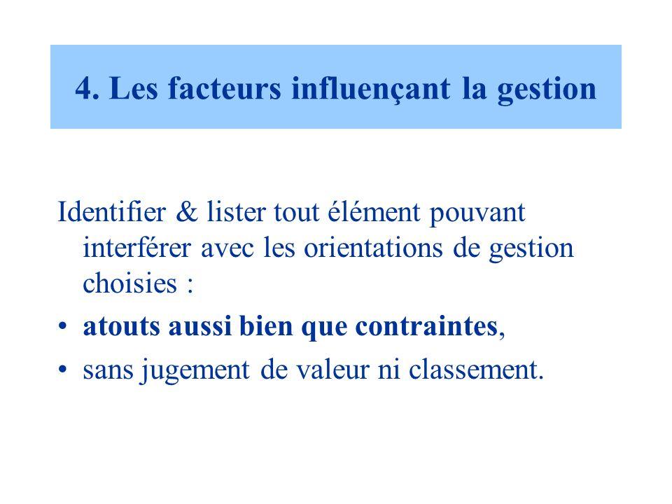 4. Les facteurs influençant la gestion