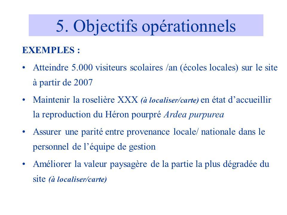 5. Objectifs opérationnels