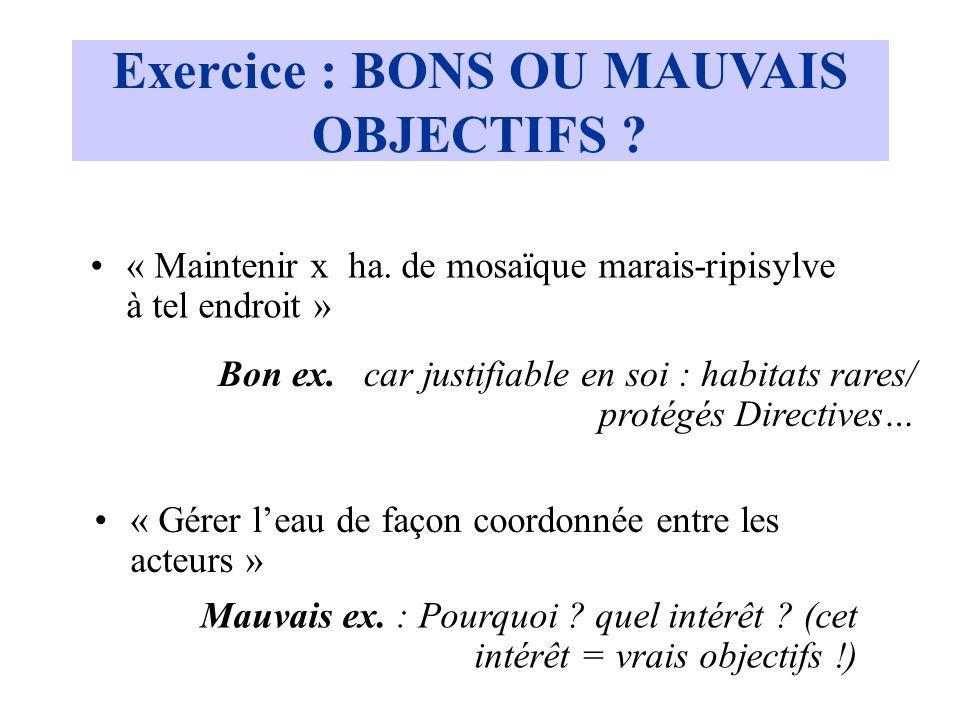 Exercice : BONS OU MAUVAIS OBJECTIFS