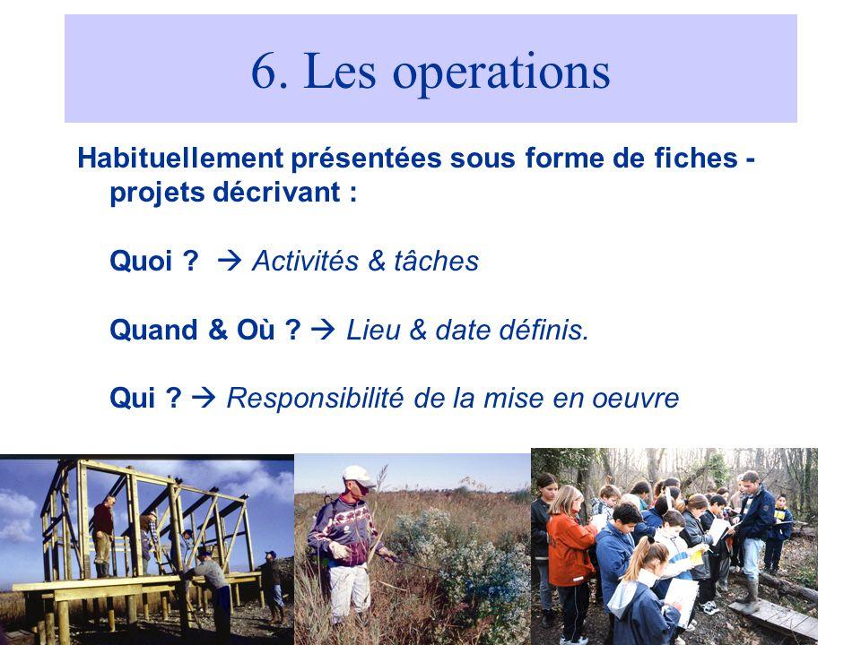 6. Les operations Habituellement présentées sous forme de fiches -projets décrivant : Quoi  Activités & tâches.