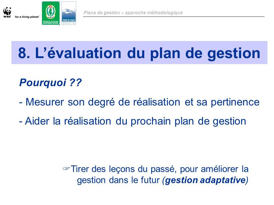 8. L'évaluation du plan de gestion