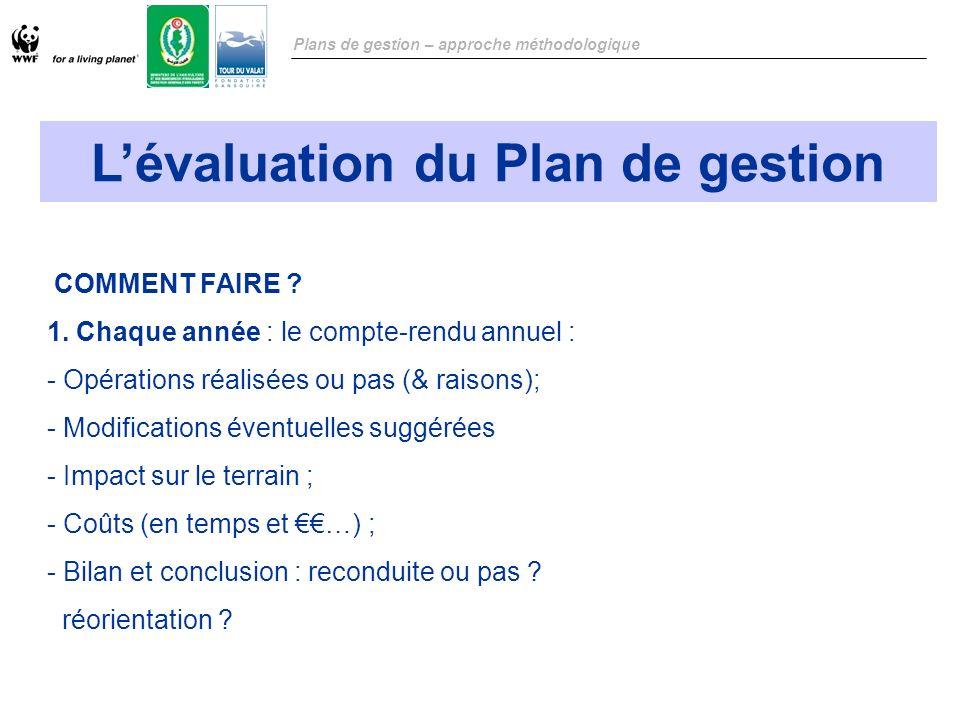 L'évaluation du Plan de gestion