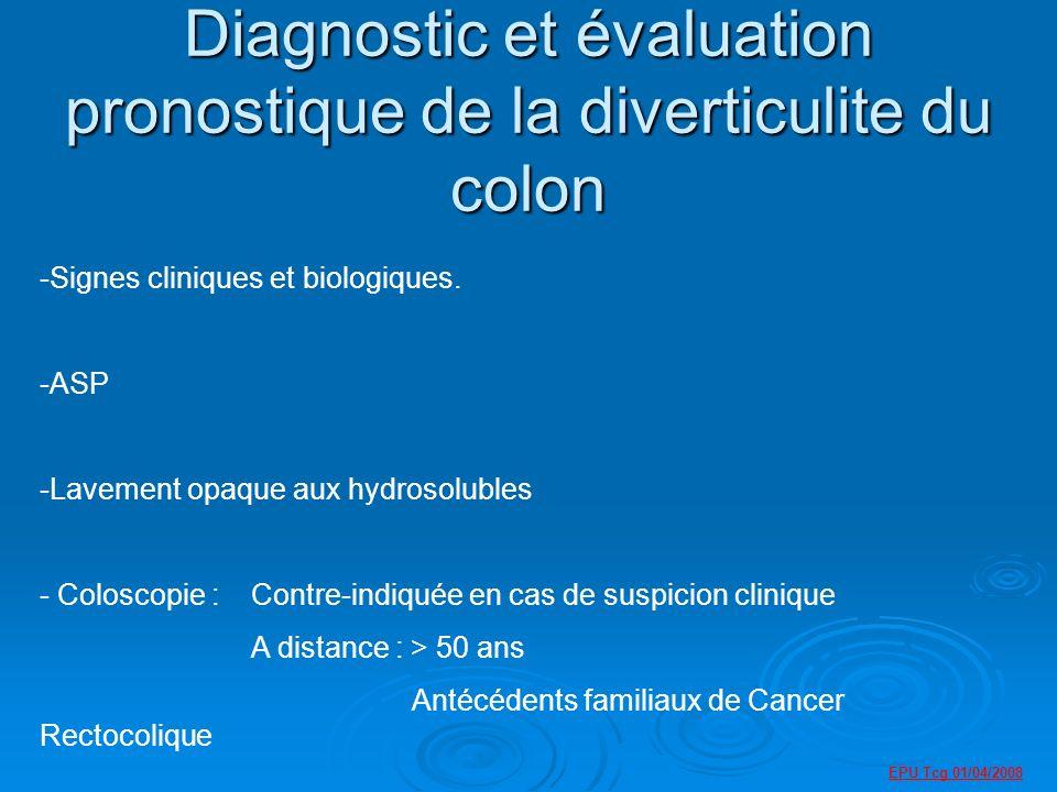 Diagnostic et évaluation pronostique de la diverticulite du colon