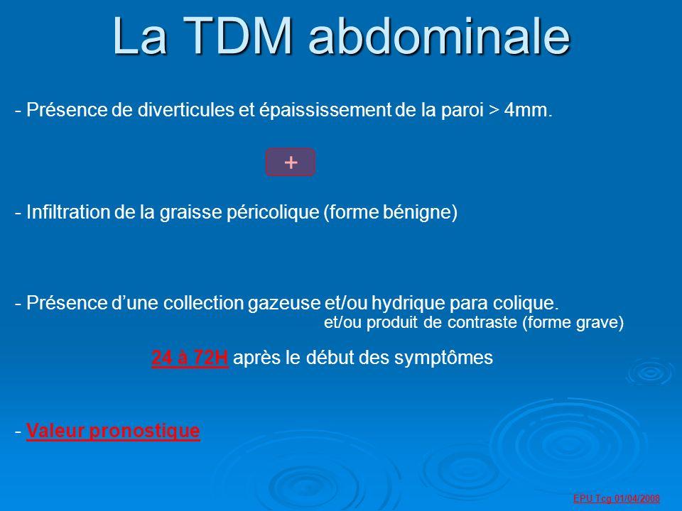 La TDM abdominale Présence de diverticules et épaississement de la paroi > 4mm. Infiltration de la graisse péricolique (forme bénigne)