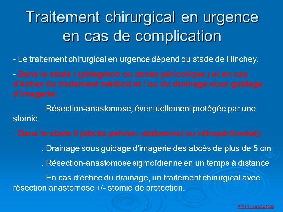 Traitement chirurgical en urgence en cas de complication