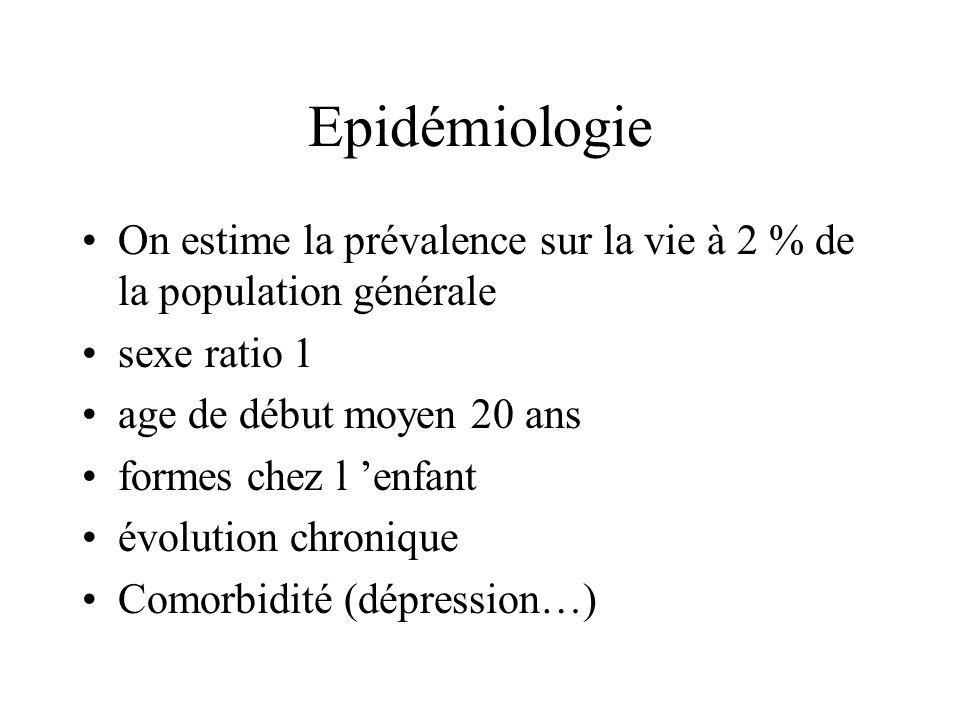 Epidémiologie On estime la prévalence sur la vie à 2 % de la population générale. sexe ratio 1. age de début moyen 20 ans.