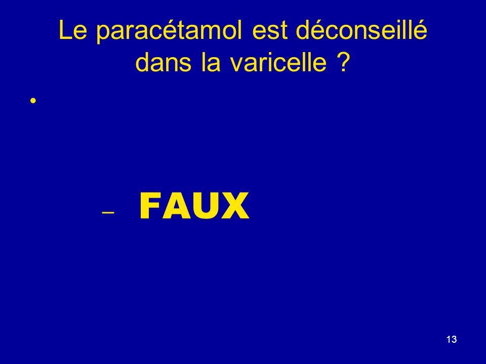 Le paracétamol est déconseillé dans la varicelle