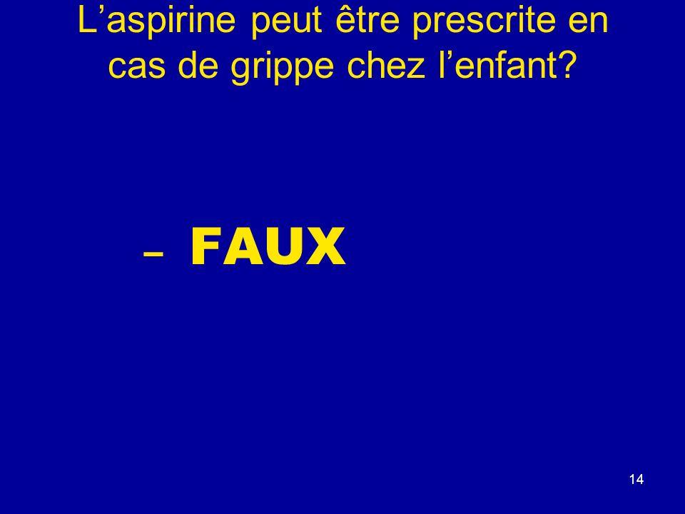 L'aspirine peut être prescrite en cas de grippe chez l'enfant