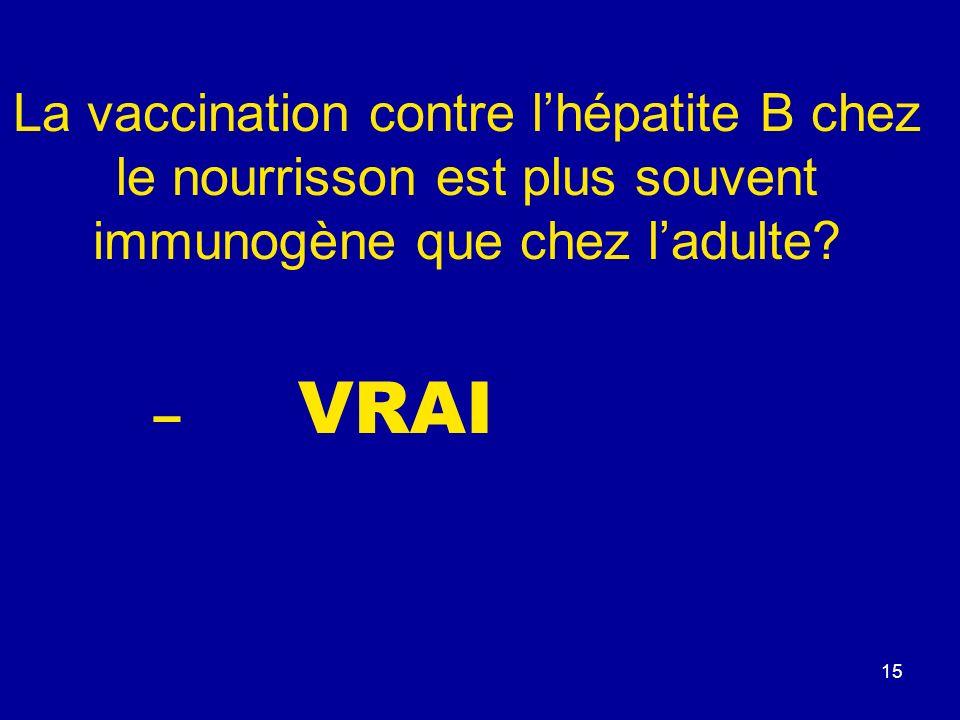 La vaccination contre l'hépatite B chez le nourrisson est plus souvent immunogène que chez l'adulte