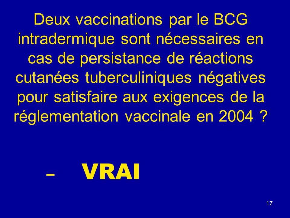 Deux vaccinations par le BCG intradermique sont nécessaires en cas de persistance de réactions cutanées tuberculiniques négatives pour satisfaire aux exigences de la réglementation vaccinale en 2004