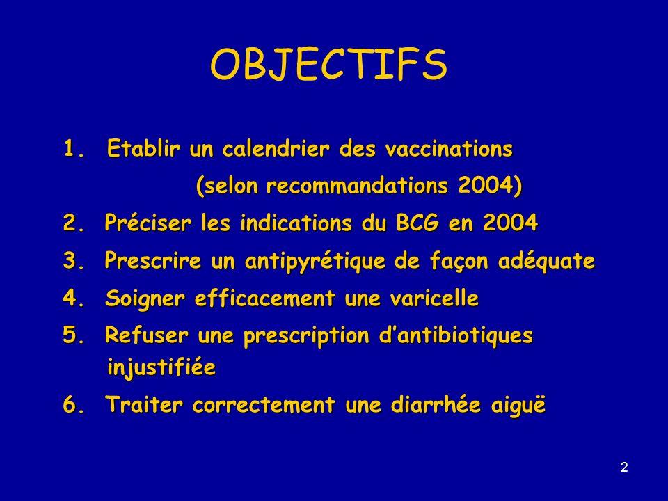 OBJECTIFS 1. Etablir un calendrier des vaccinations