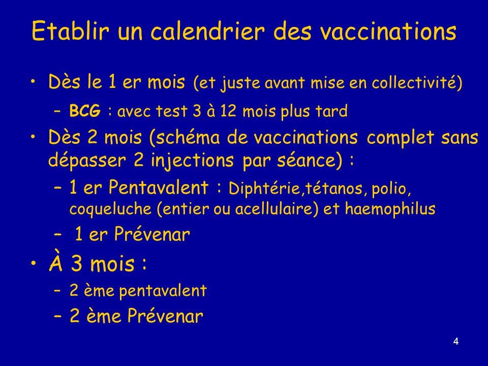 Etablir un calendrier des vaccinations