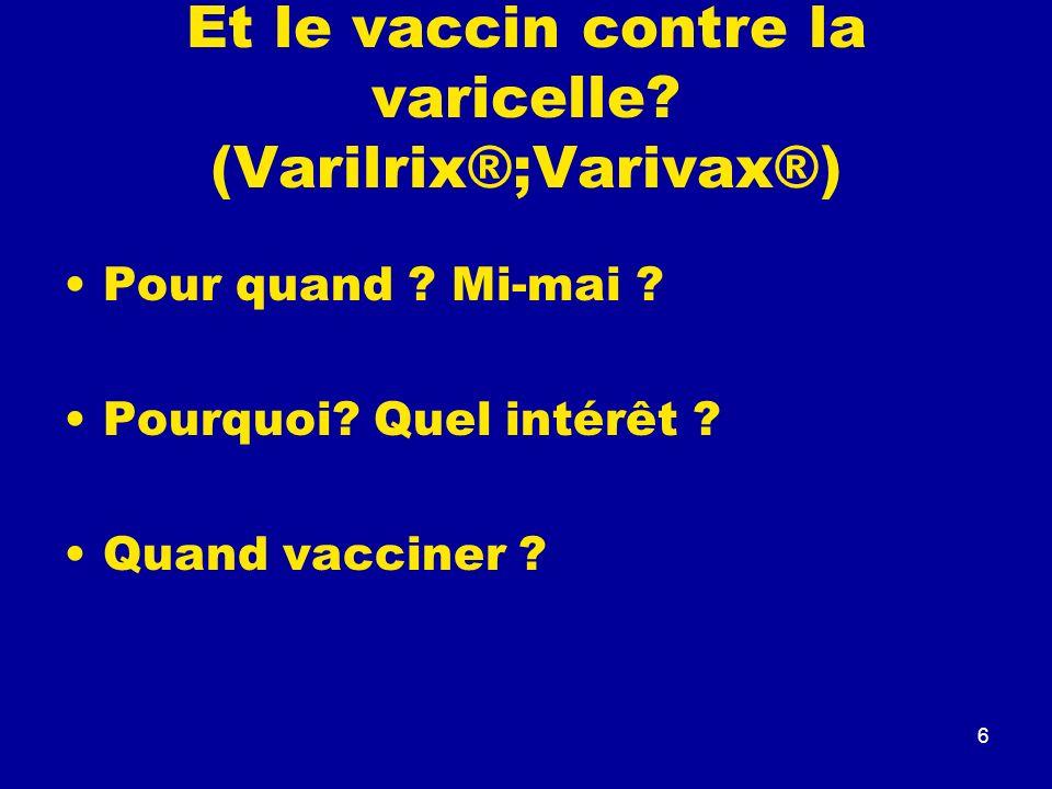 Et le vaccin contre la varicelle (Varilrix®;Varivax®)